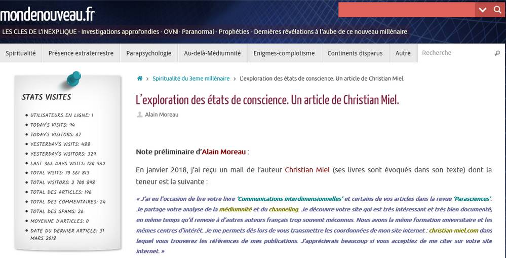 L'exploration des états de conscience Un article de Christian Miel