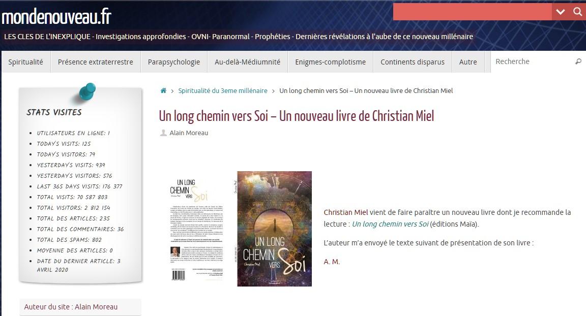 Monde Nouveau par Alain Moreau - Un long chemin vers soi par Christian MIEL